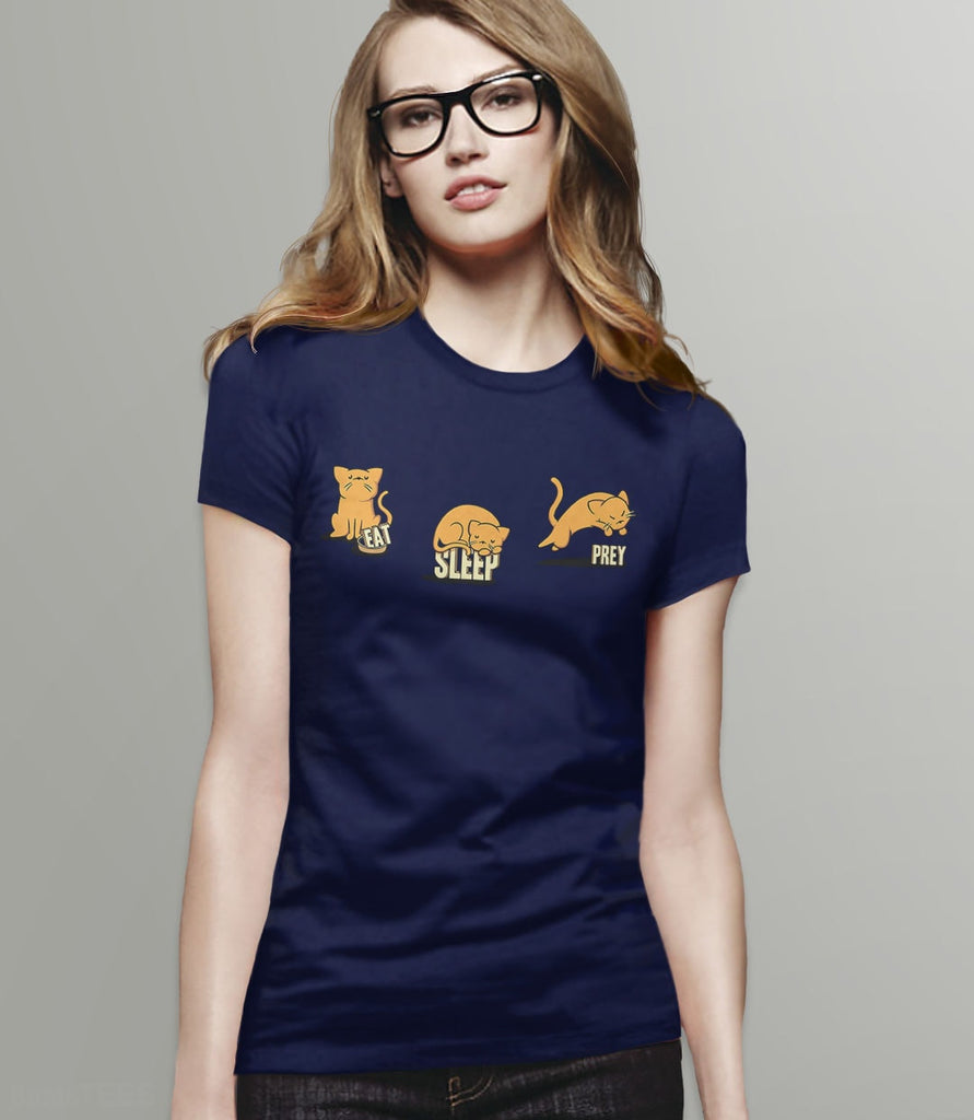 Eat Sleep Prey | Cute Cat Humor T-Shirt for Cat Owners. Pictured: Navy Womens Tee