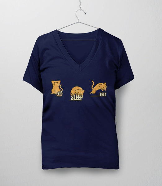Eat Sleep Prey, Navy Womens V-Neck by BootsTees