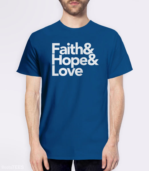 Modern Christian Quote T-Shirt with Helvetica Typography. Pictured: Blue Mens Tee.
