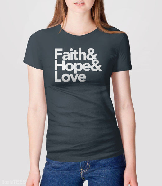 Modern Christian Quote T-Shirt with Helvetica Typography. Pictured: Grey Womens Tee.