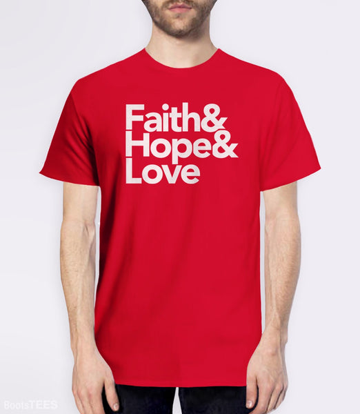 Modern Christian Quote T-Shirt with Helvetica Typography. Pictured: Red Mens Tee.