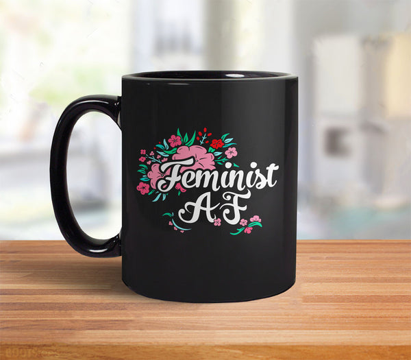 Feminist AF Coffee Mug with flowers and typography - back