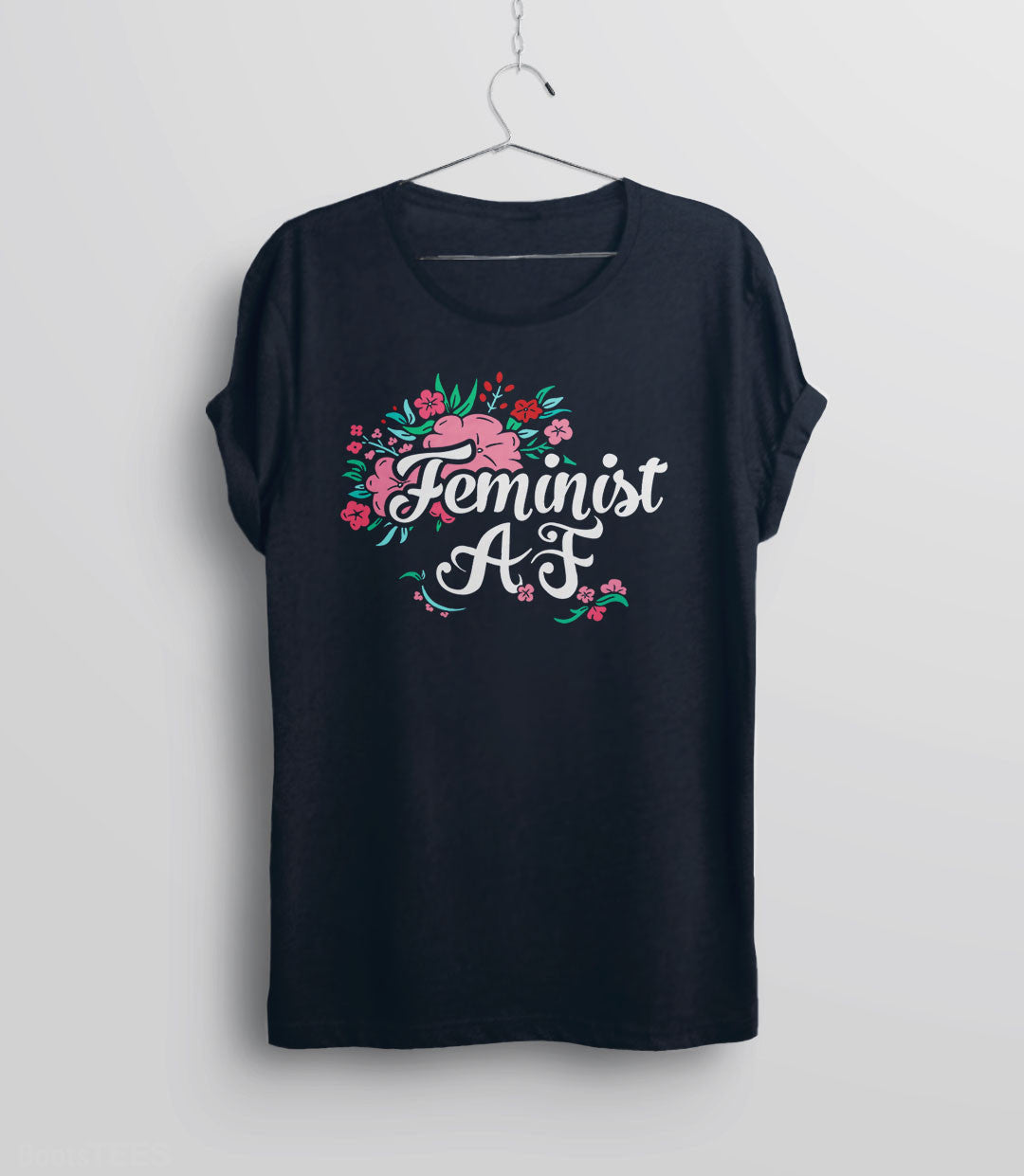 Feminist AF Shirt with flowers and typography - unisex navy
