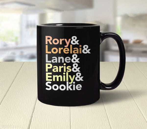 Gilmore Girls gift coffee mug with female character names - back