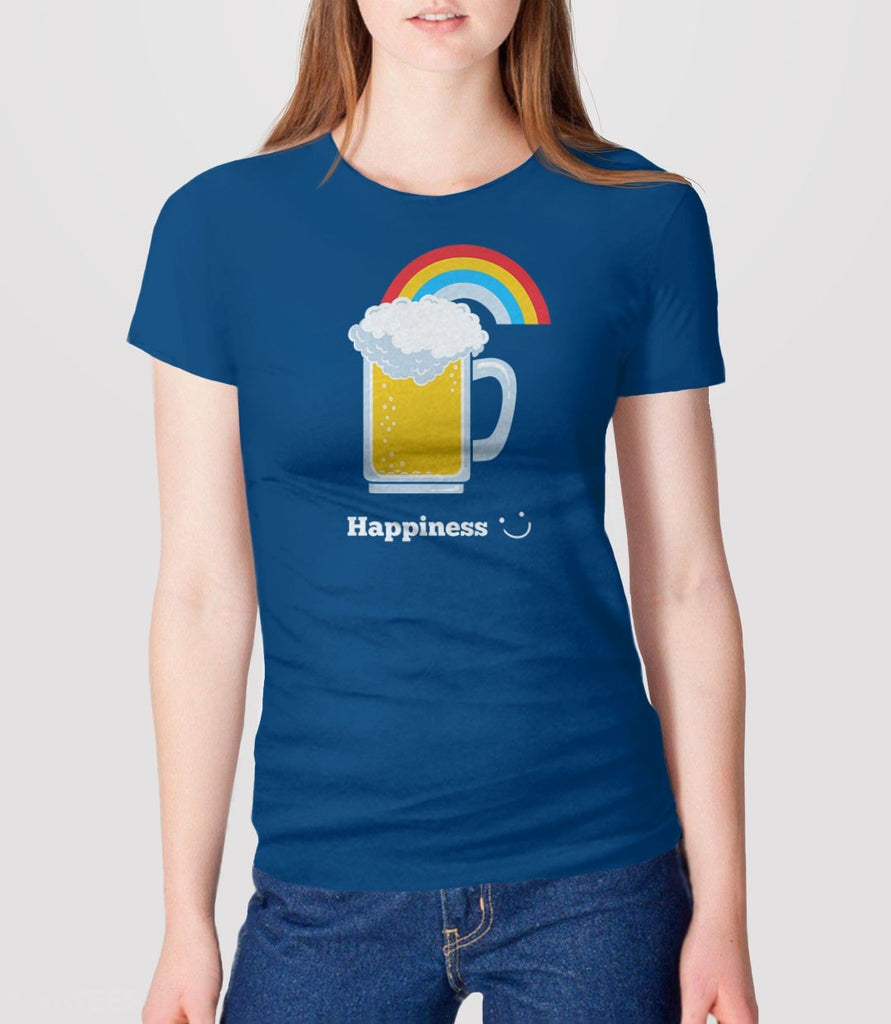 Happiness | Cute Beer t-shirt for craft beer lovers and funny drinking tshirt. Pictured: Blue Womens Tee Shirt