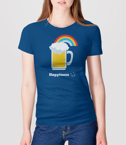 Happiness: Cute Beer, Royal Blue Womens Tee by BootsTees