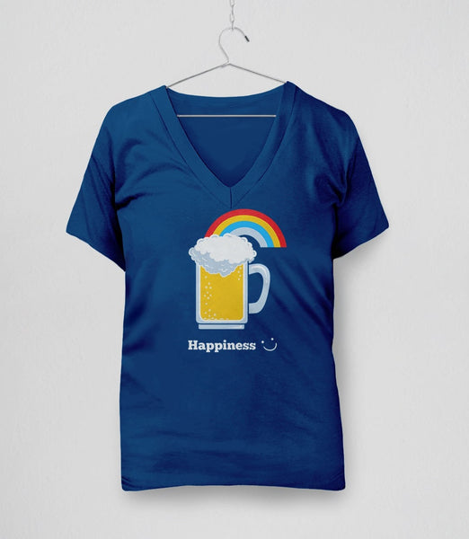 Happiness: Cute Beer, Royal Blue Womens V-Neck by BootsTees