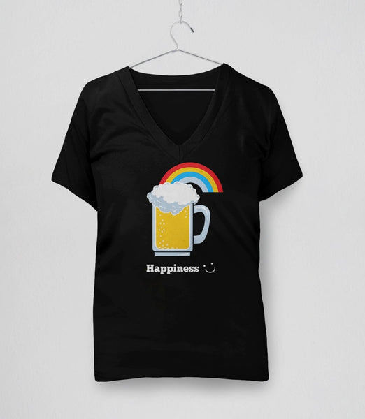 Happiness: Cute Beer, Black Womens V-Neck by BootsTees