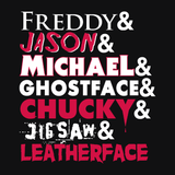 The Horror Movie T-Shirt | Horror Movie Characters T-Shirt with movie logo style text for fans of Nightmare on Elm Street, Friday the 13th, Halloween, Scream, Chucky, Saw, and Texas Chainsaw Massacre. Black Gothic Tee Shirt.