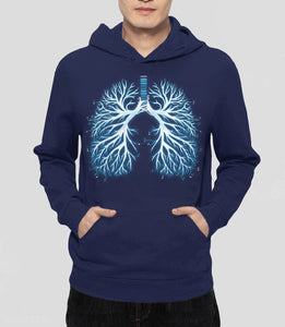I Breathe Music, Navy Unisex Hoodie by BootsTees