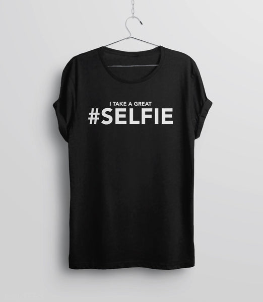 I Take a Great #Selfie, Black Mens (Unisex) Tee by BootsTees