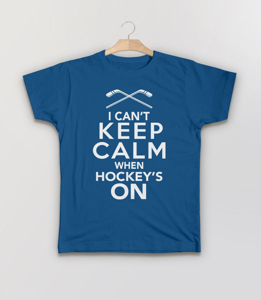 I Can't Keep Calm When Hockey's On, Royal Blue Kids Tee by BootsTees