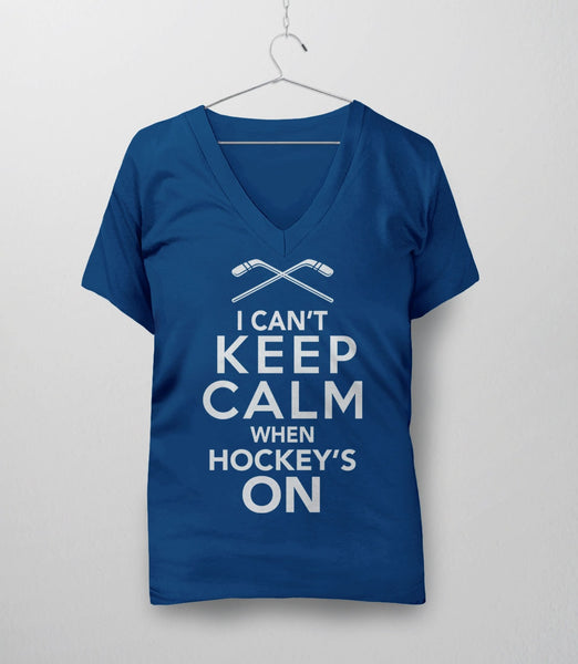 I Can't Keep Calm When Hockey's On, Royal Blue Womens V-Neck by BootsTees