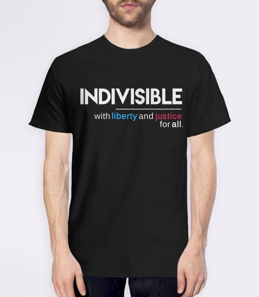 Indivisible t-shirt: with liberty and justice for all - mens black political quote tee