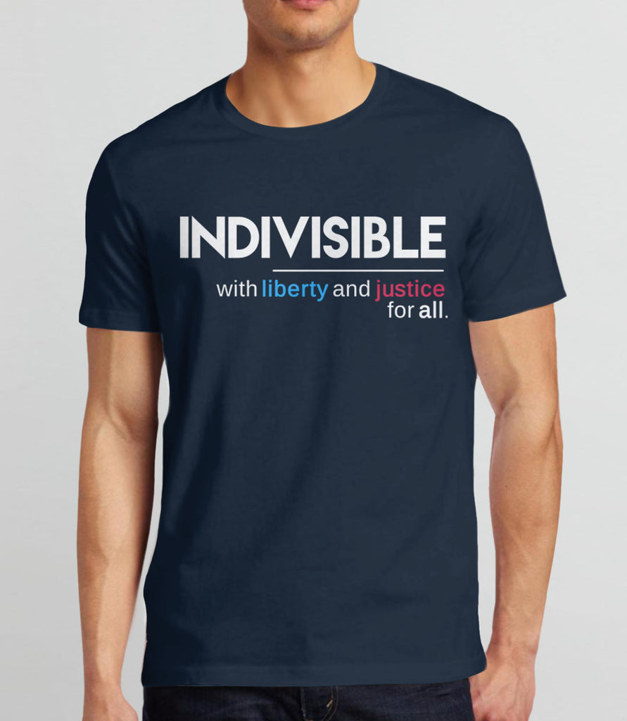 Indivisible t-shirt: with liberty and justice for all - mens political quote tee