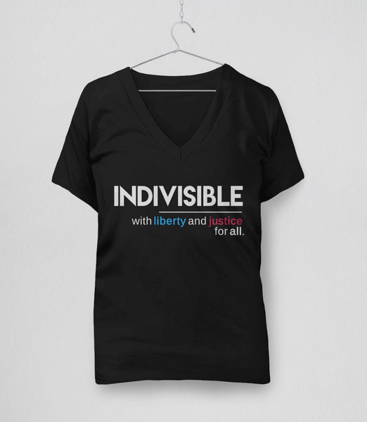 Indivisible t-shirt: with liberty and justice for all - womens political quote v-neck