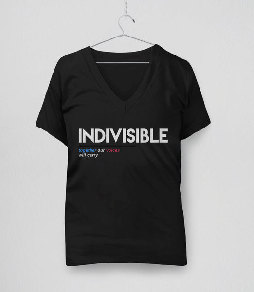 Indivisible t-shirt: together our voices will carry - womens v-neck tee