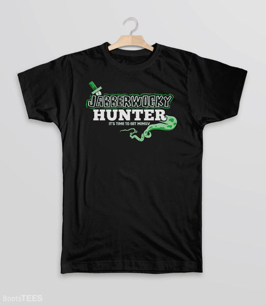 Jabberwocky Hunter T-Shirt | Funny Lewis Carroll book nerd gift. Pictured: Black Kids Tee