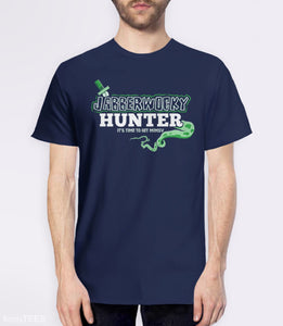 Jabberwocky Hunter T-Shirt | Funny Lewis Carroll book nerd gift. Pictured: Navy Mens Tee.