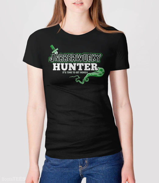 Jabberwocky Hunter T-Shirt | Funny Lewis Carroll book nerd gift. Pictured: Black Womens Tee.