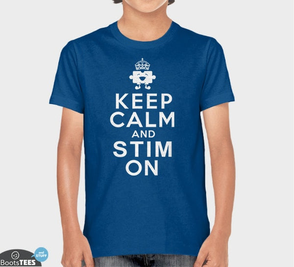 Funny Autism T-Shirt: Keep Calm and Stim On | Pictured: Blue Kid's Tee