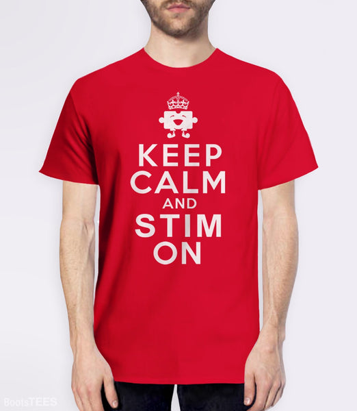 Funny Autism T-Shirt: Keep Calm and Stim On | Pictured: Red Men's Tee