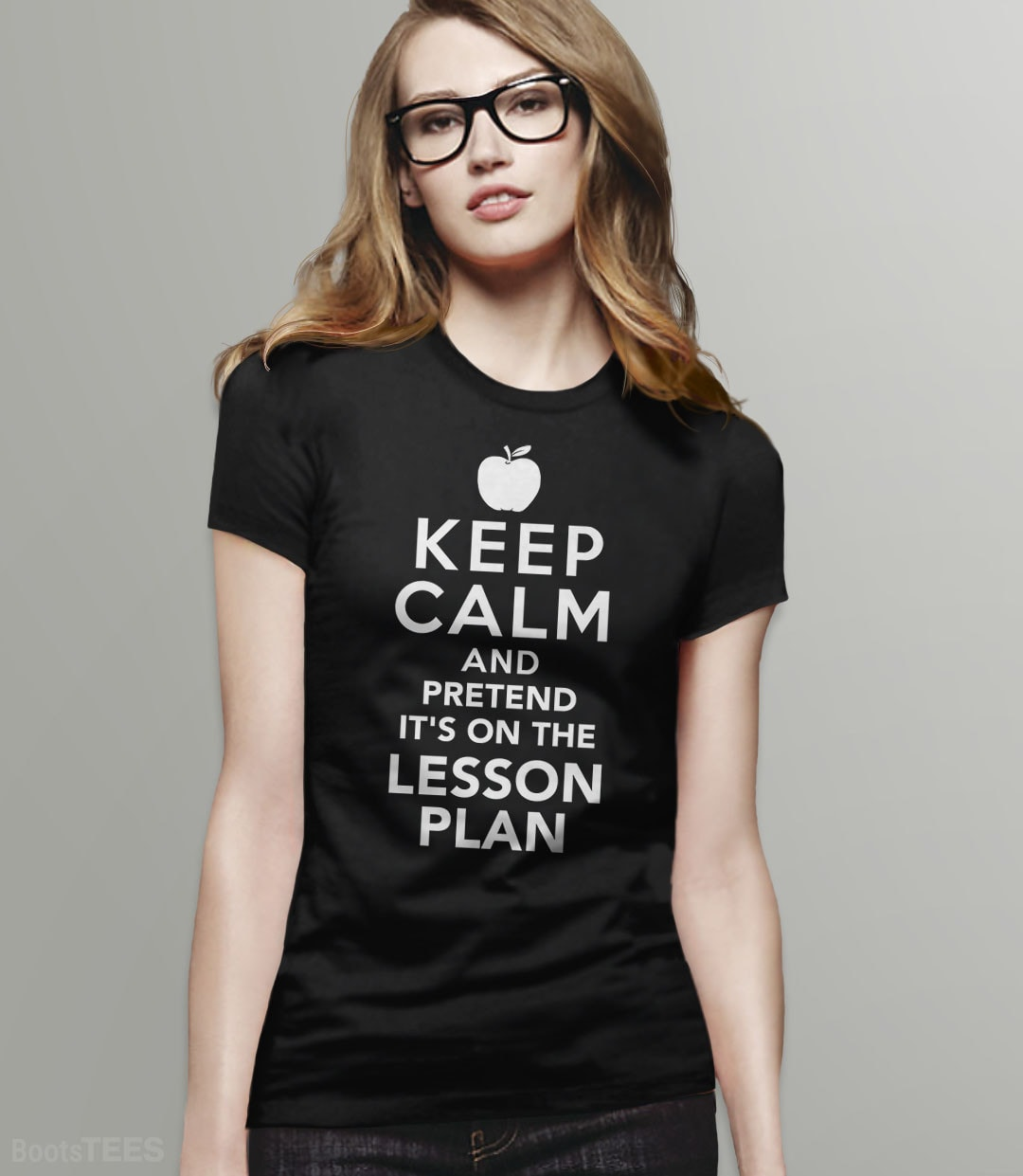 Keep Calm and Pretend It's On the Lesson Plan | Funny Teacher Gift and Teaching T-Shirt. Pictured: Black Womens Tee