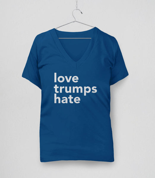 Love Trumps Hate inspirational t-shirt - blue v-neck