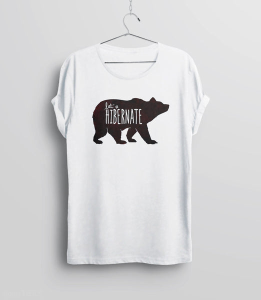 Let's Hibernate | Funny Boho Sleep T-Shirt with Watercolor Bear Graphic - unisex