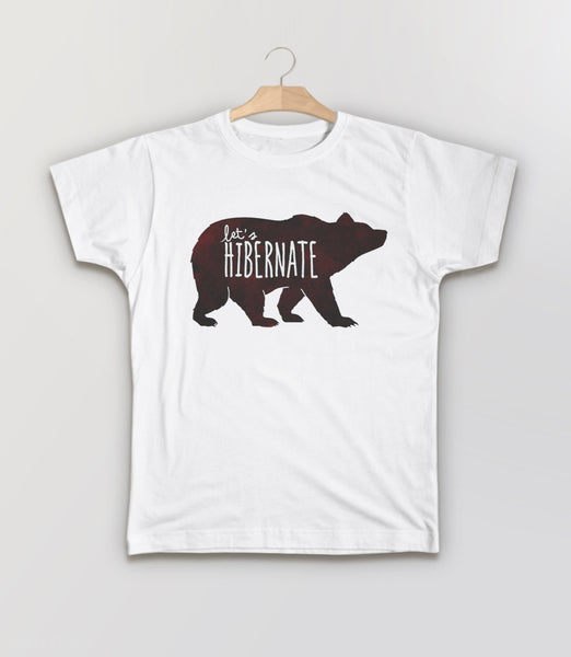 Let's Hibernate | Funny Boho Sleep T-Shirt with Watercolor Bear Graphic - kids