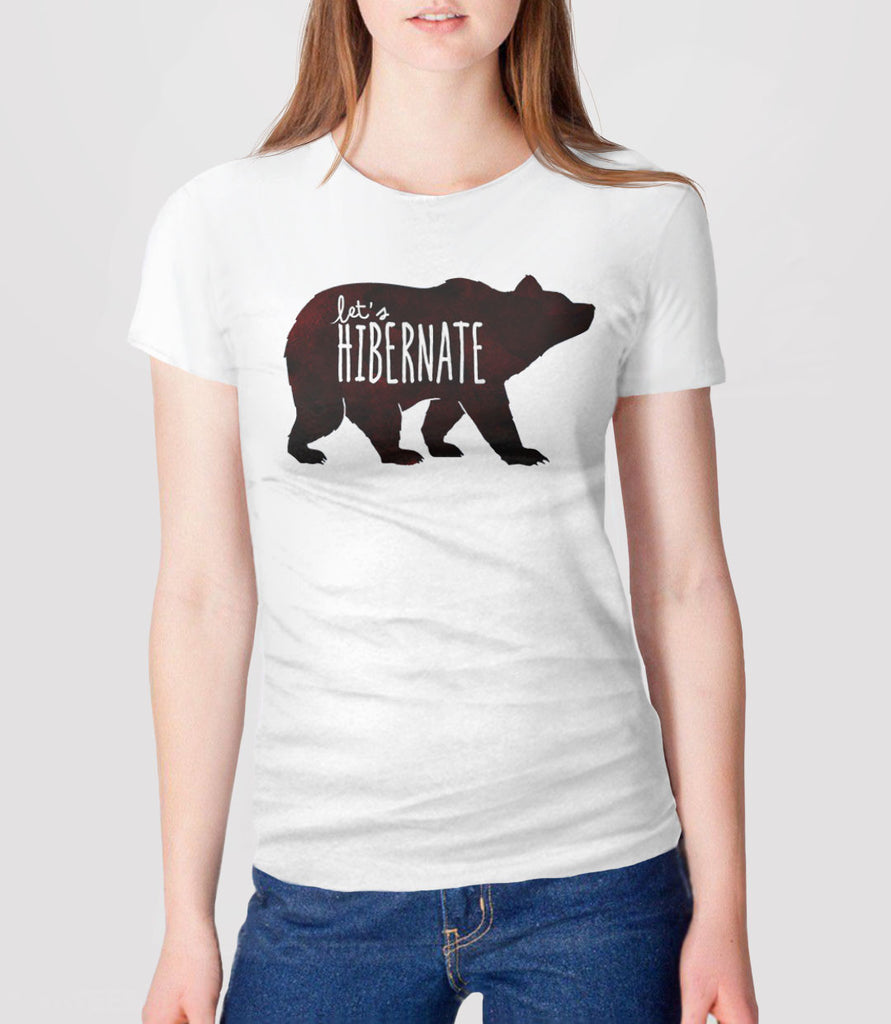 Let's Hibernate | Funny Boho Sleep T-Shirt with Watercolor Bear Graphic - womens