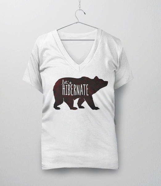 Let's Hibernate | Funny Boho Sleep T-Shirt with Watercolor Bear Graphic - v-neck