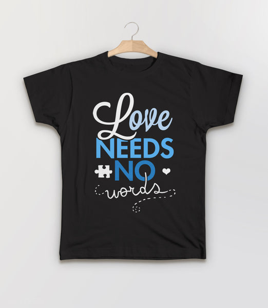 Love Needs No Words t-shirt for autism awareness month - kids tee