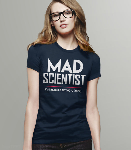 Mad Scientist science march protest t-shirt - womens navy