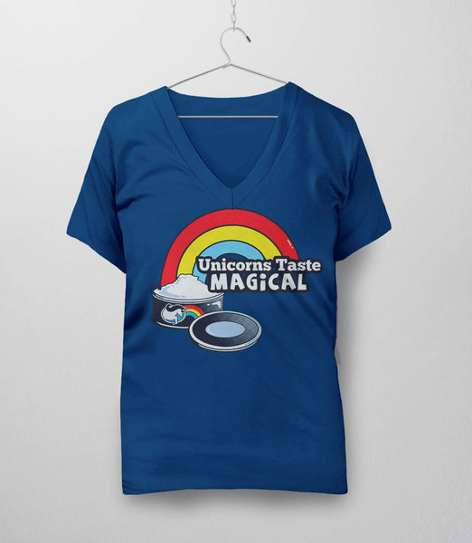 Unicorns Taste Magical, Royal Blue Womens V-Neck by BootsTees