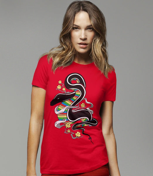 Many Colors | Asian art snake graphic tee - red womens t-shirt