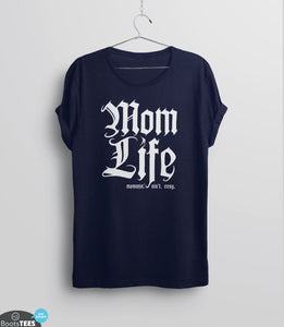 Mom Life, Navy Mens (Unisex) Tee by BootsTees