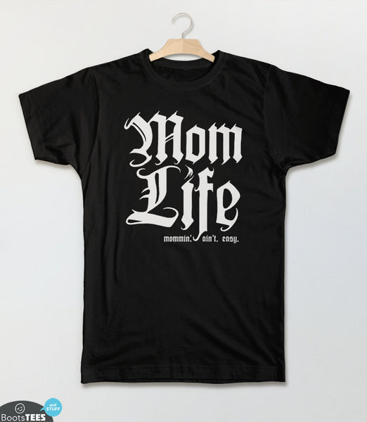 Mom Life T-Shirt: Mommin Aint Easy | Funny Gift for Mom T-Shirt | Thug Life Mom Shirt for Mother's Day or any occasion. Pictured: Black Kid's Tee