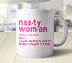 Nasty Woman Definition Mug (Pink and White) Mug from Boots Tees