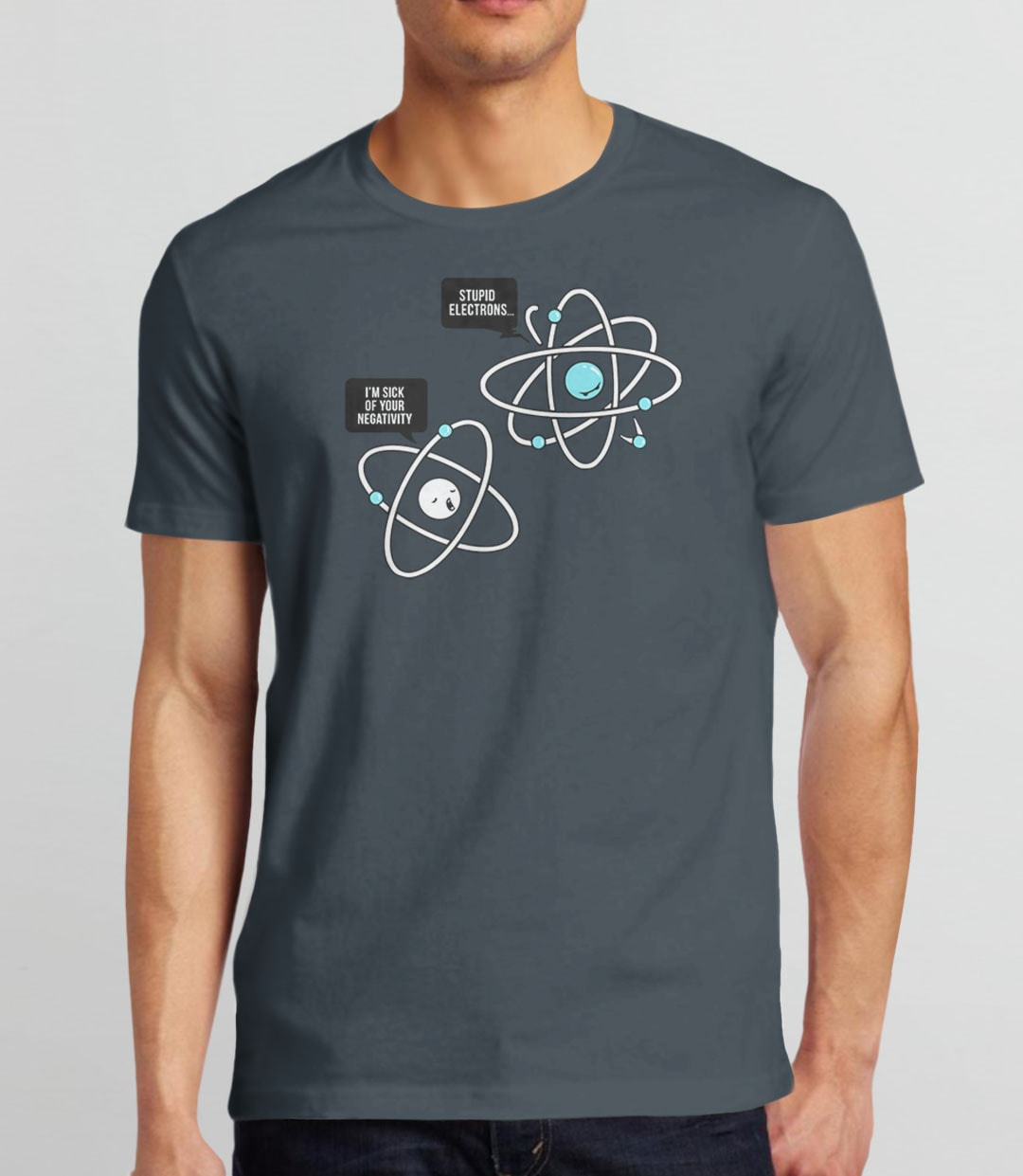 Negative Atom, Charcoal Mens (Unisex) Tee by BootsTees