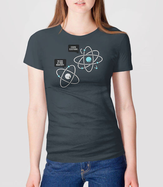Negative Atom, Charcoal Womens Tee by BootsTees