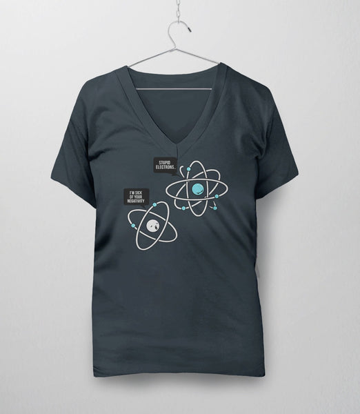 Negative Atom, Charcoal Womens V-Neck by BootsTees