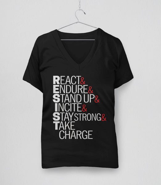Resist Acronym T-Shirt - womens v-neck protest tee