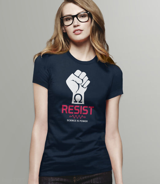 Resist T-Shirt | March for science tee - womens navy
