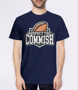 Respect the Commish t-shirt | fantasy football commissioner gift - mens navy