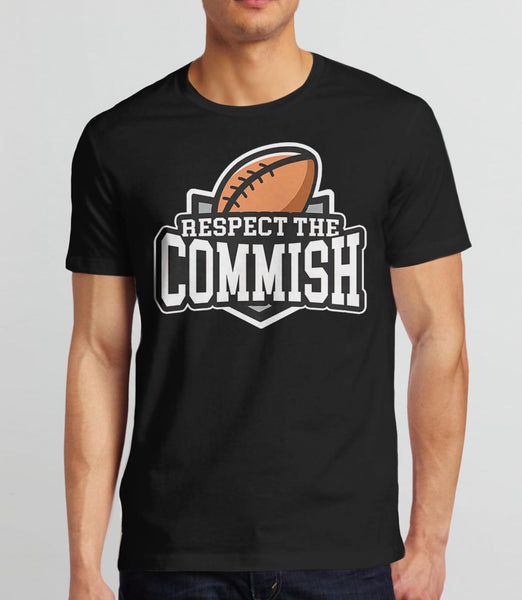 Respect the Commish t-shirt | fantasy football commissioner gift - mens black
