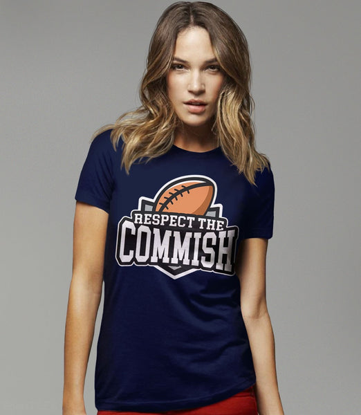 Respect the Commish t-shirt | fantasy football commissioner gift - womens navy