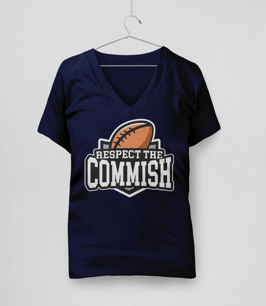Respect the Commish t-shirt | fantasy football commissioner gift - v-neck navy