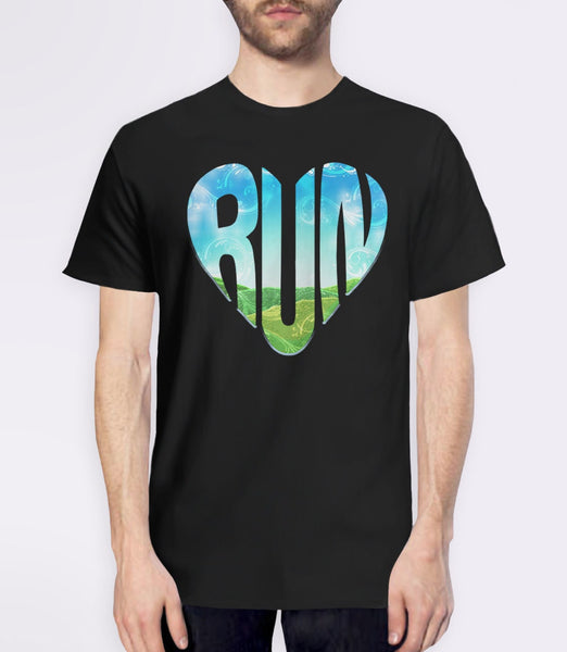 RUN | Running Typography Graphic Tee Shirt. Running quote for runners. Pictured: Black Mens Tshirt.