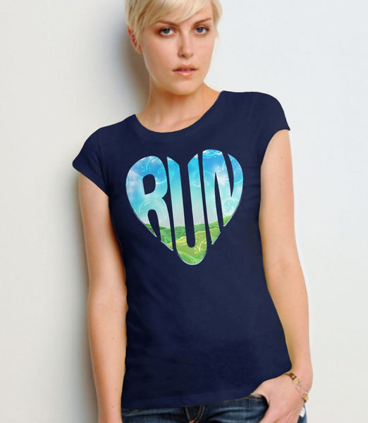RUN, Navy Womens Tee by BootsTees